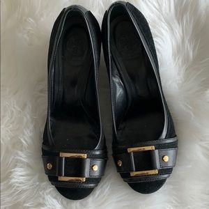 Tory Burch black suede shoes